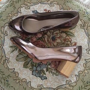 Zara wood block heel